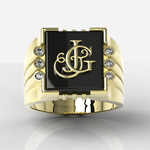 Amazing Big man CUSTOM gold ring with monogramme hand engraved